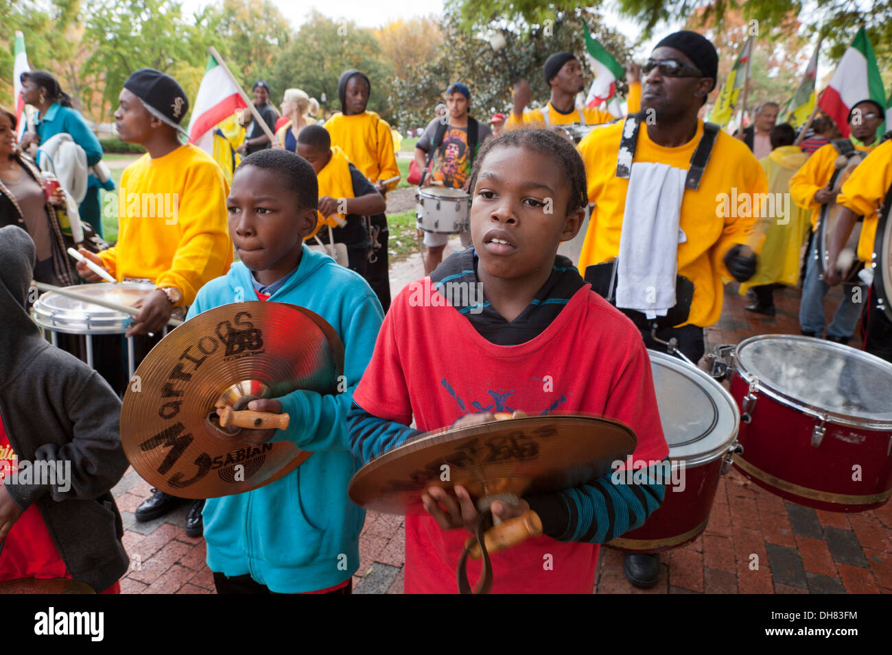young african american boys playing cymbals in marching band stock photo 62258664 alamy. Black Bedroom Furniture Sets. Home Design Ideas