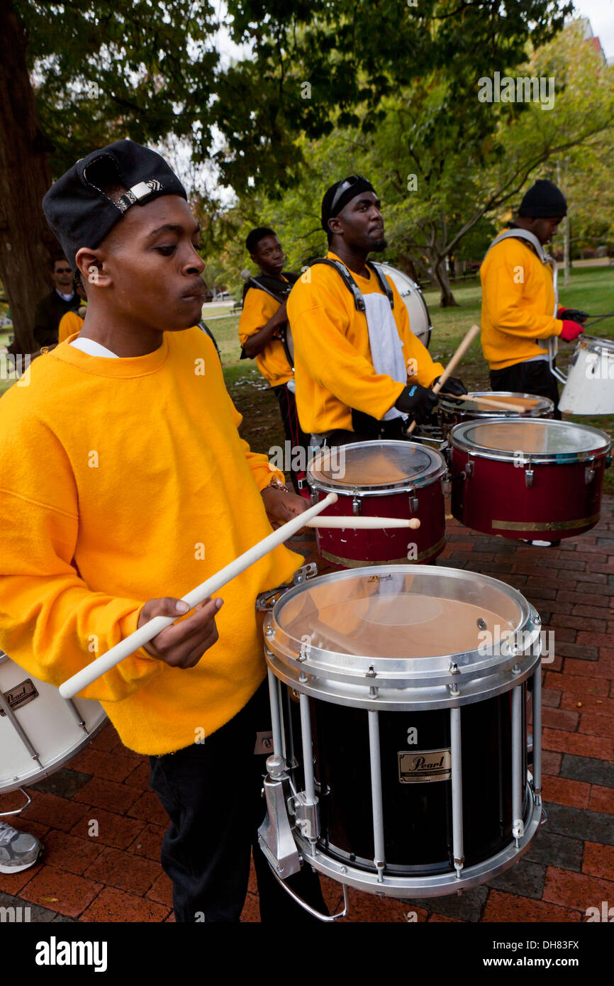 African-American snare drummer in marching band - Stock Image