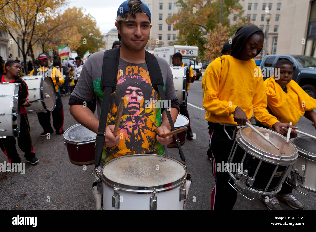 Snare drummer  in parade - Stock Image