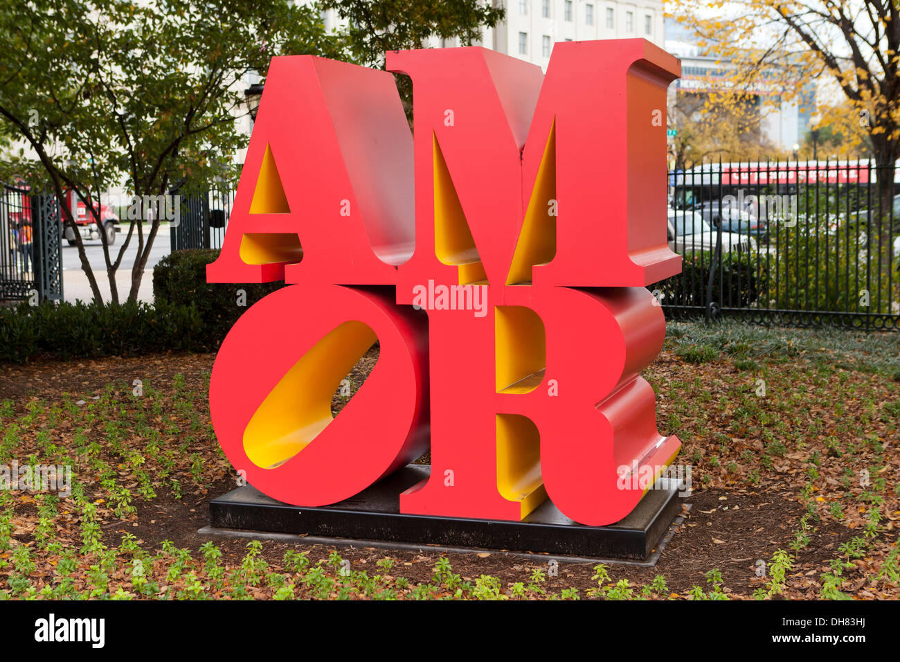 AMOR sculpture by Robert Indiana, 2006 - USA - Stock Image