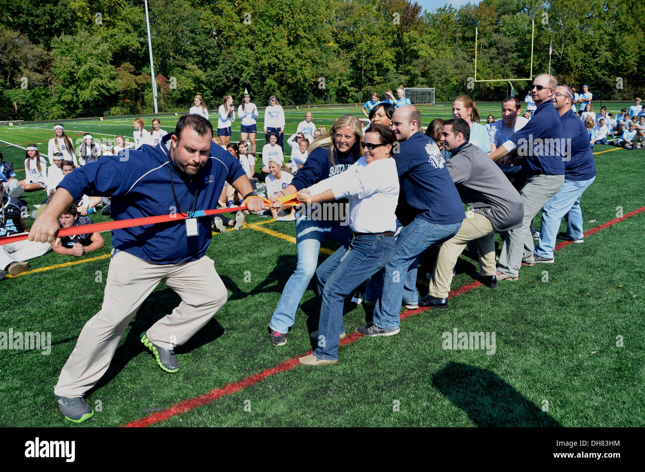 Teachers Playing Tug Of War In A School Activity In Md Stock Image