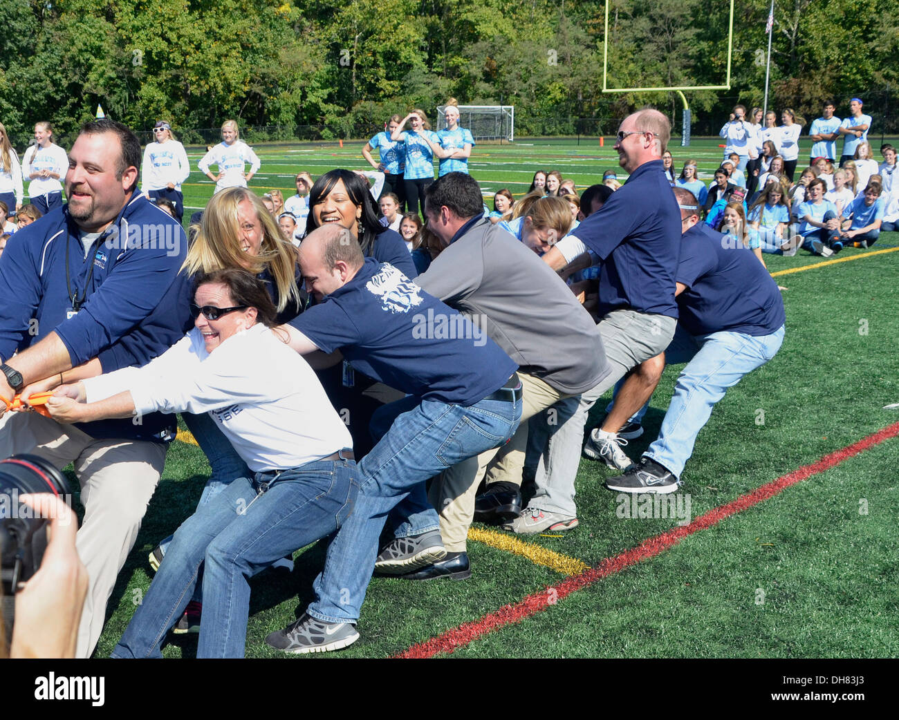 Teens Teachers Playing Tug Of War In A School Activity In Md Stock Image