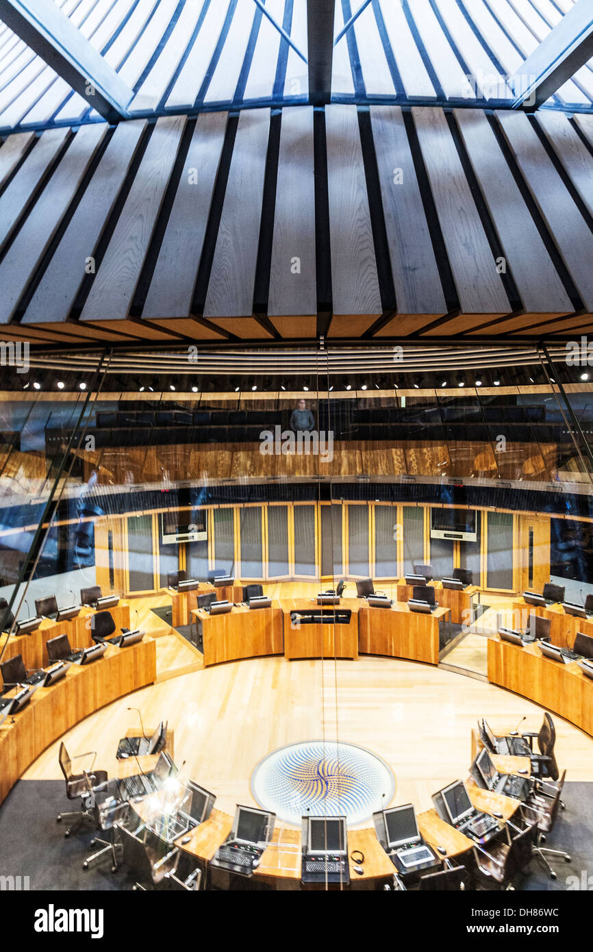 The Siambr or debating chamber in the Senedd or National Assembly for Wales in Cardiff Bay. - Stock Image