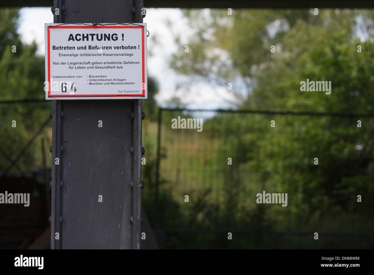Warning sign, former Soviet military base near Kuestrin on the border river Oder, Brandenburg - Stock Image