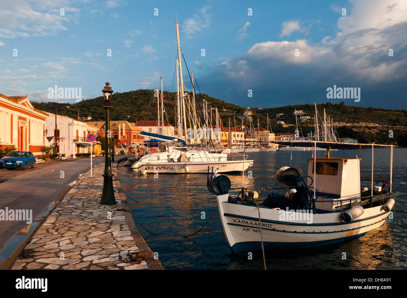 The greek fishing village of Gaios on the island of Paxos - Stock Image