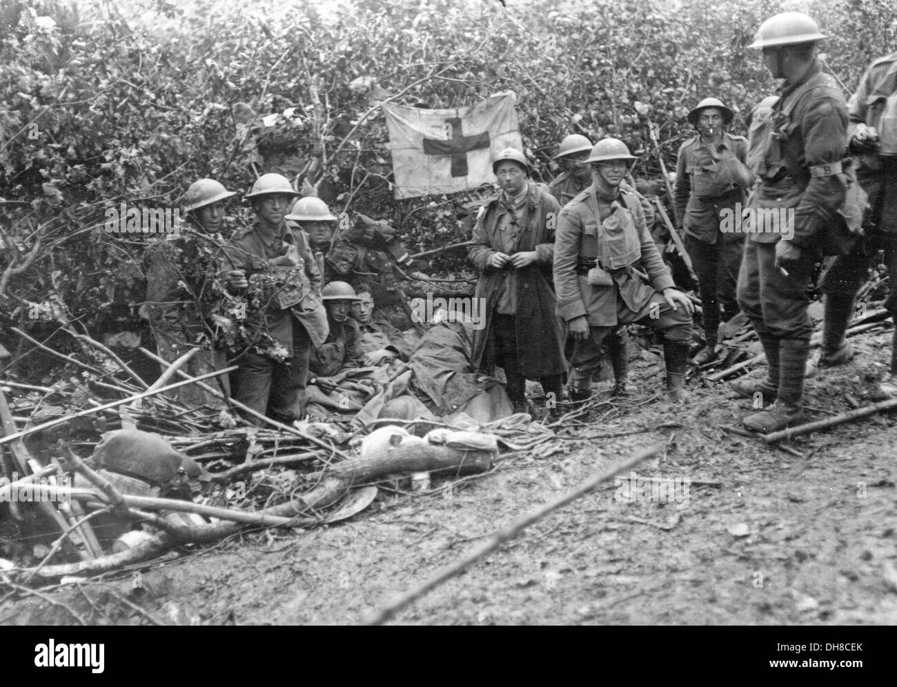Great War trench warfare. A dressing station behind the line. - Stock Image