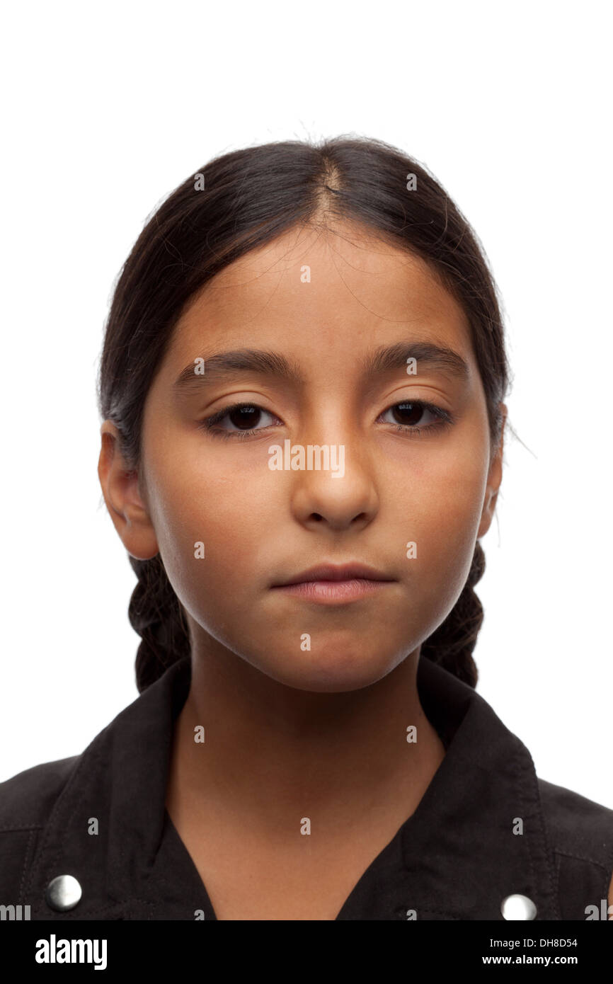 Portrait of an eleven year old girl - Stock Image