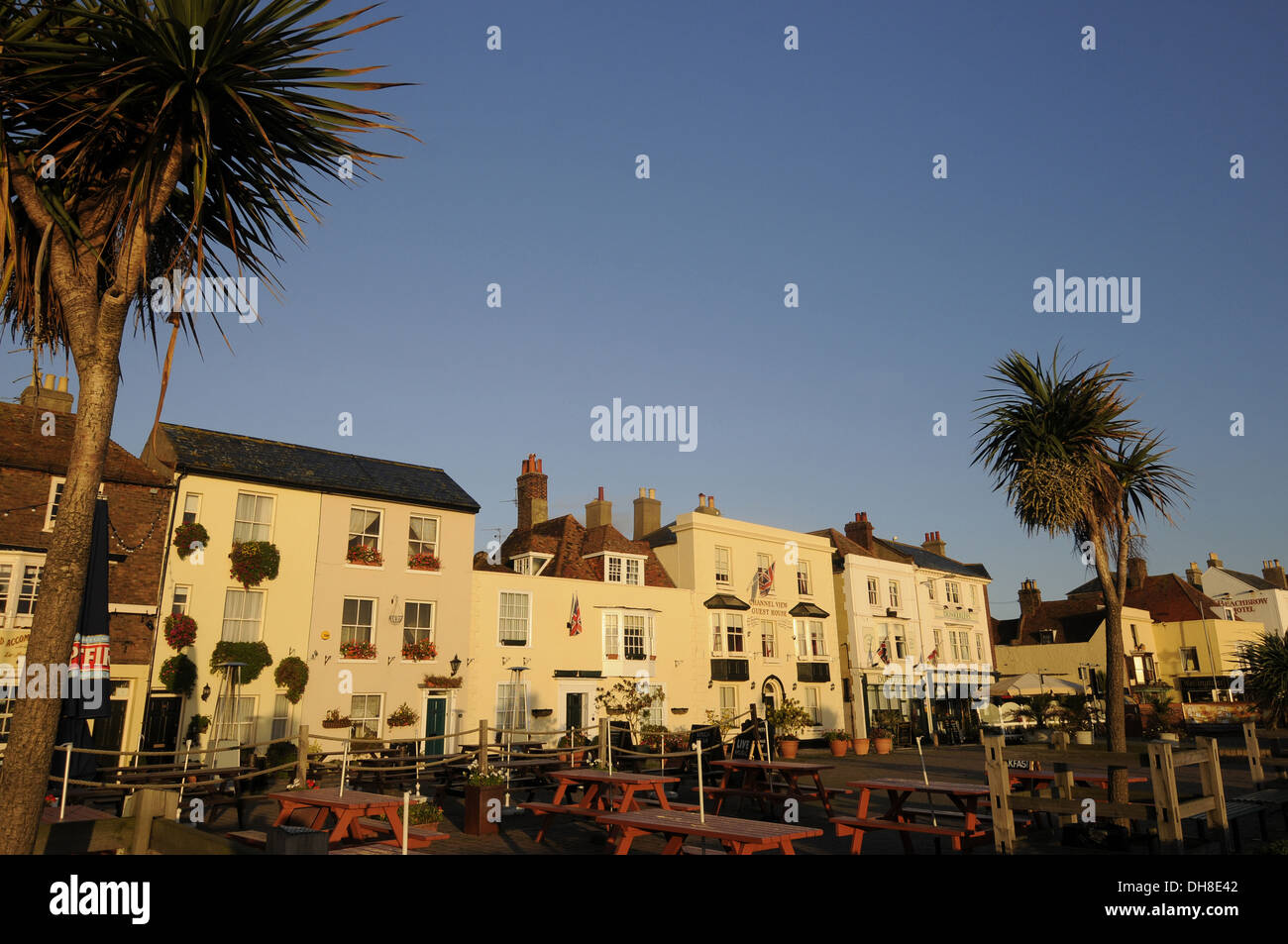 Restaurants and Hotels on Beach Street Deal Kent England - Stock Image