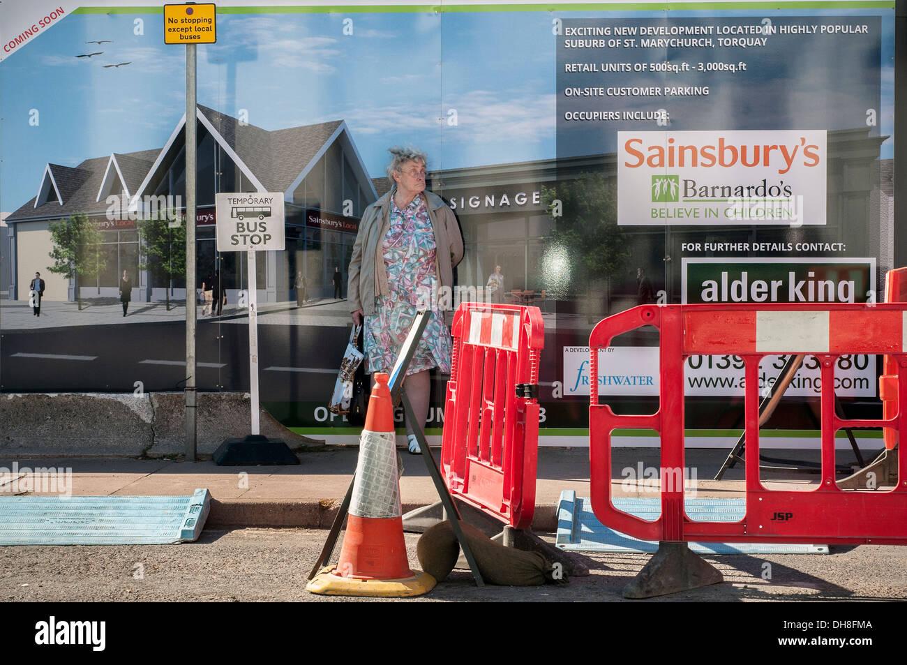 Sainsburys,alder king,street furniture,cones, - Stock Image