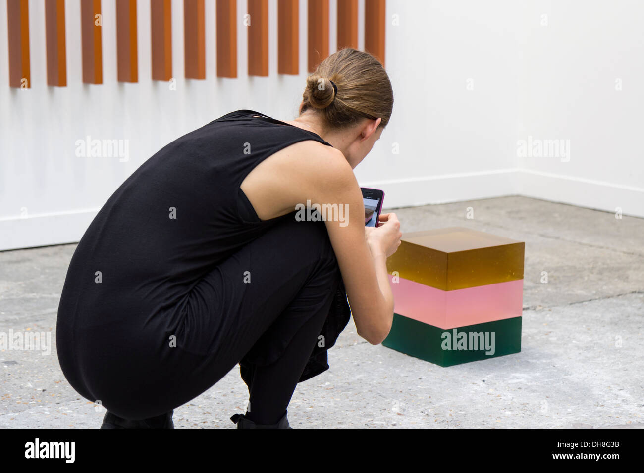 Woman photographing a 3 colors resin cube at the Fiac 2013 (contemporary art fair) at le Grand Palais in Paris, France - Stock Image