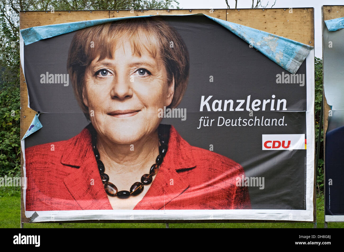 German Chancellor Angela Merkel billboard from German general elections 2013. Stock Photo