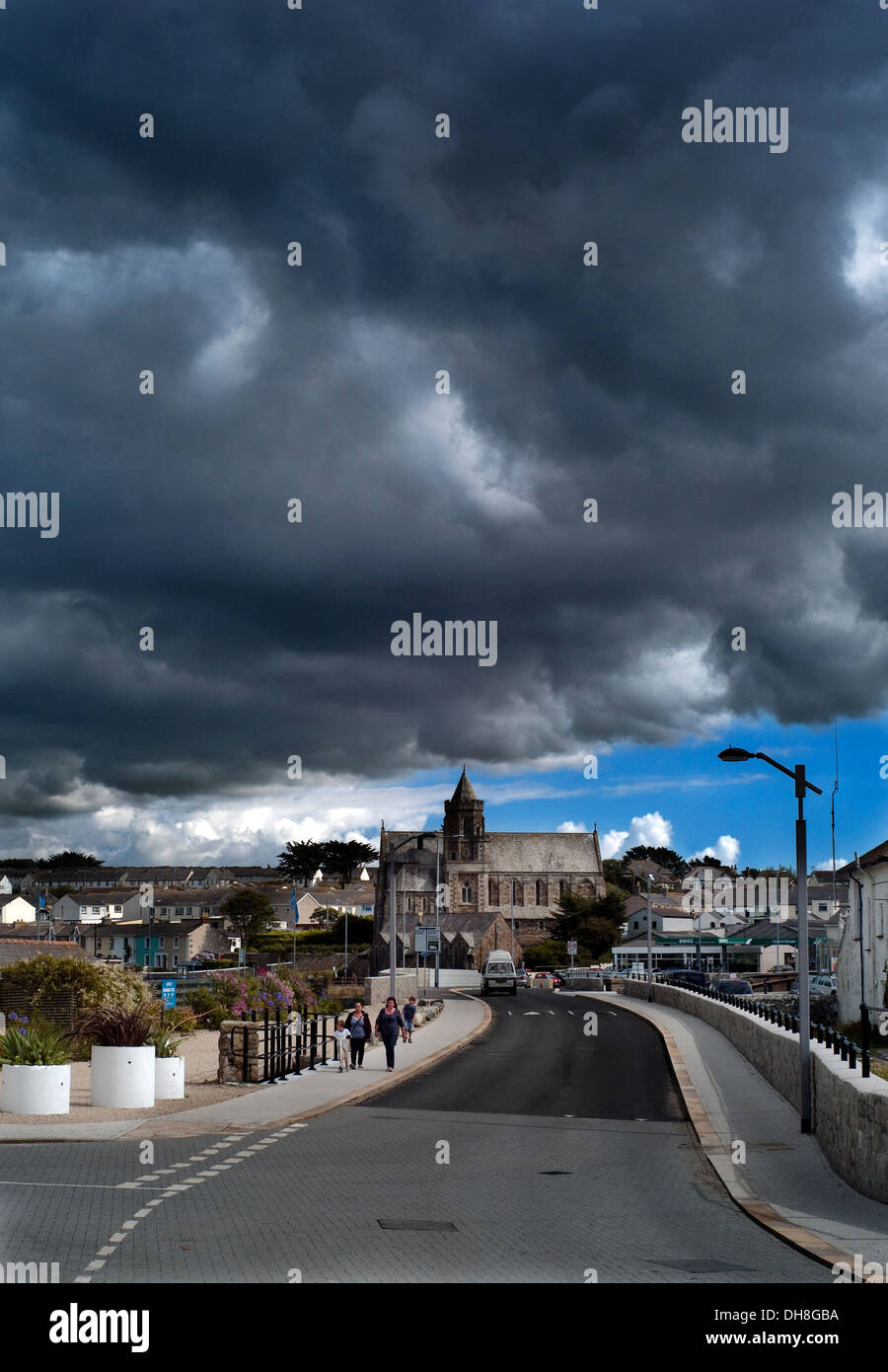 Hayle town Cornwall under thunderous black sky and dark clouds - Stock Image
