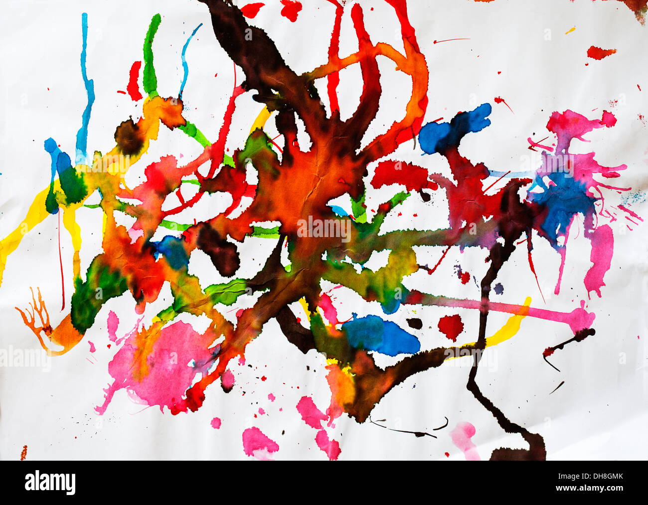 Childrens' artwork: watercolour abstract - Stock Image