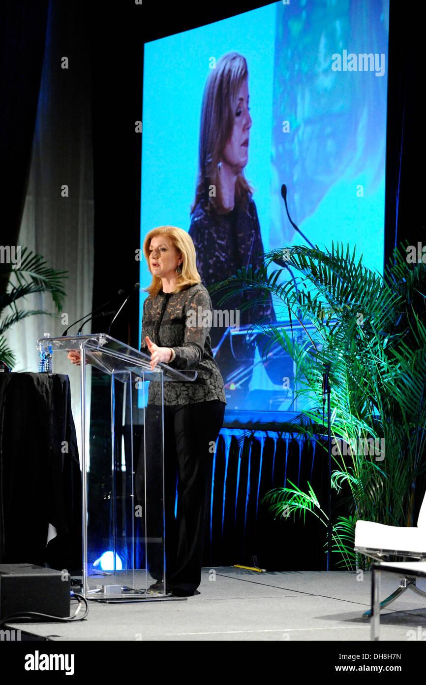 Arianna Huffington keynote presentation at Digital Media Summit 2012 Slacker Canadian Music Week Toronto Canada - 22.03.12 - Stock Image