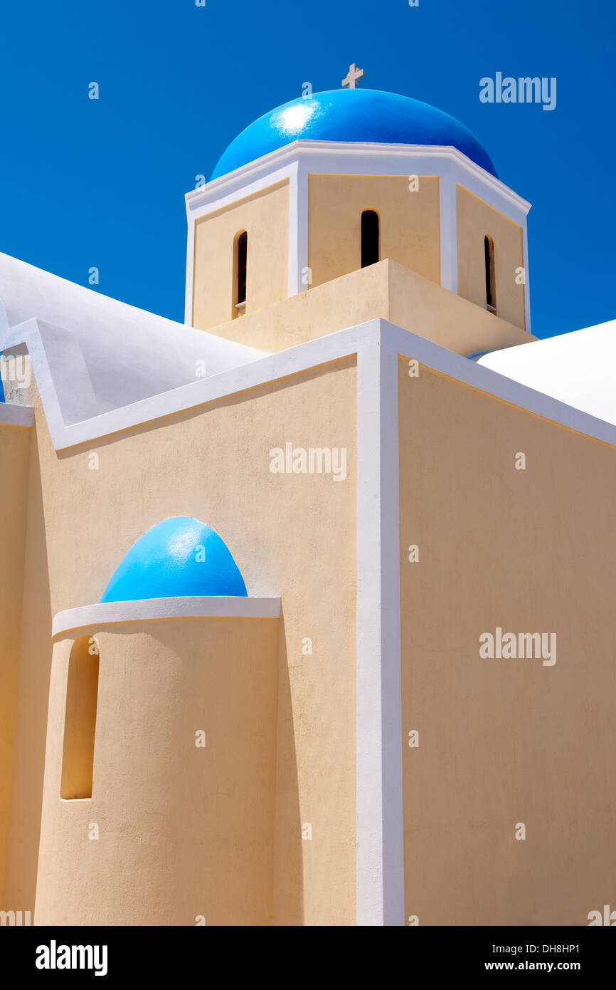 oia ( Ia ) Santorini orthodox churches - Greek Cyclades islands - Photos, pictures and images Stock Photo