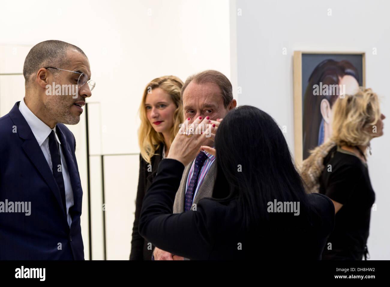 Bertrand Delanoe, french Paris Mayor visiting the Fiac 2013 (contemporary art fair) at le Grand Palais in Paris, France. - Stock Image