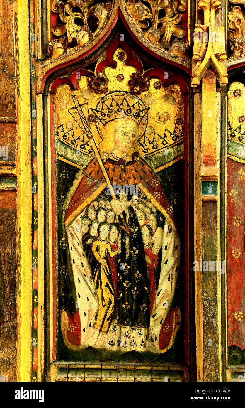 Eye, Suffolk, St. Ursula and 11,000 Virgins, medieval rood screen painting paintings saint saints England UK - Stock Image