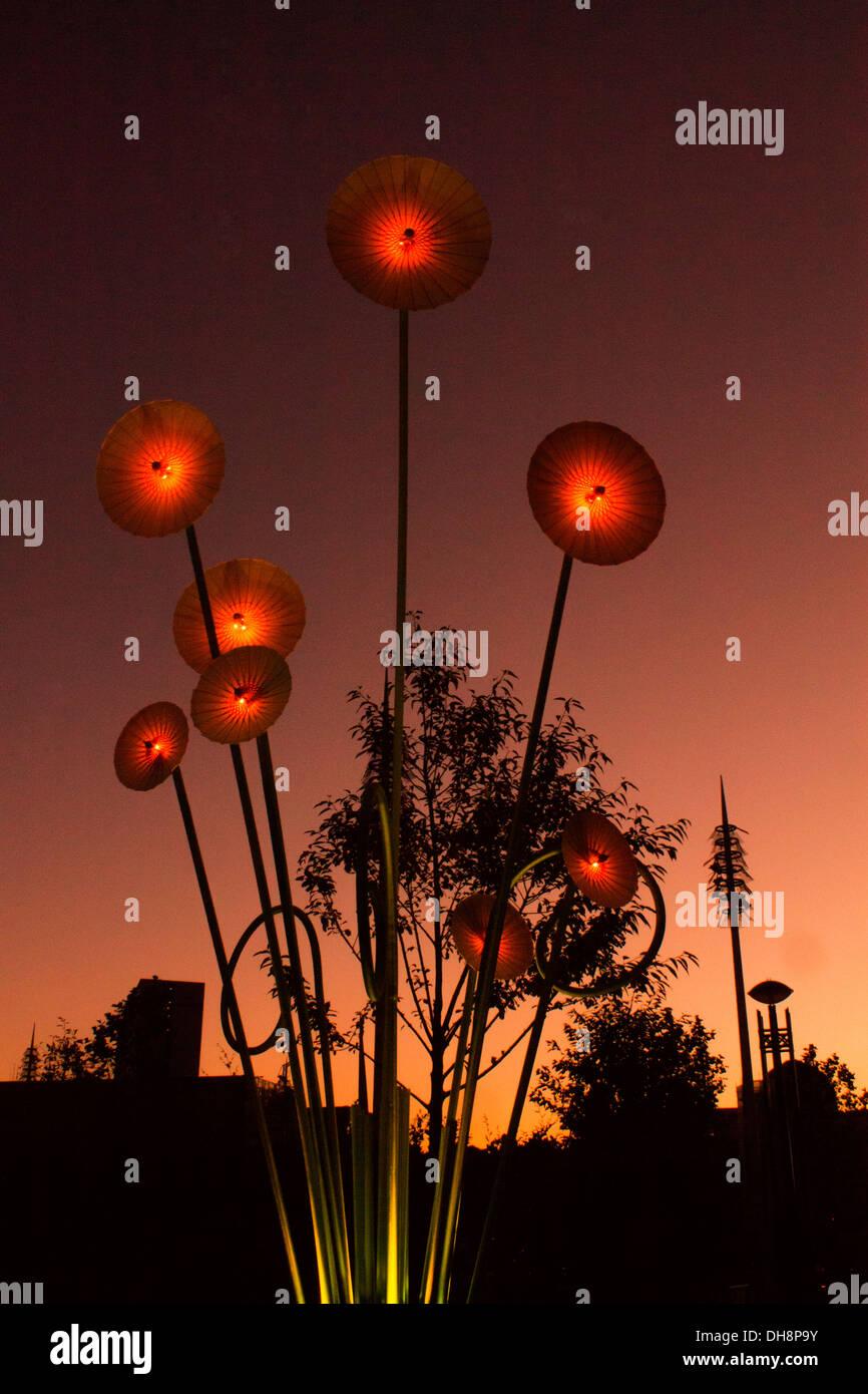 Christmas flower outdoor garden lights at night - Stock Image