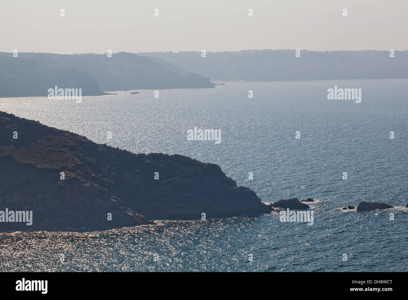Across bay from Ronez Point to Sorel Point, looking west. St. John's. North coast. Jersey. Channel Islands. England, UK. - Stock Image