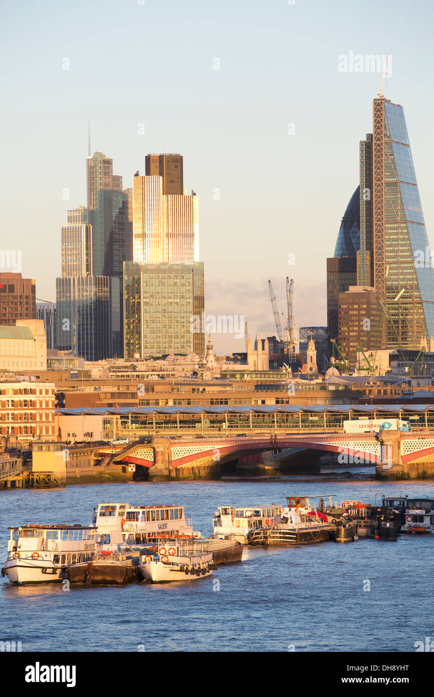 View of the City of London, financial district, including the Gherkin, Walkie Talkie and Cheesegrater buildings, London, UK - Stock Image