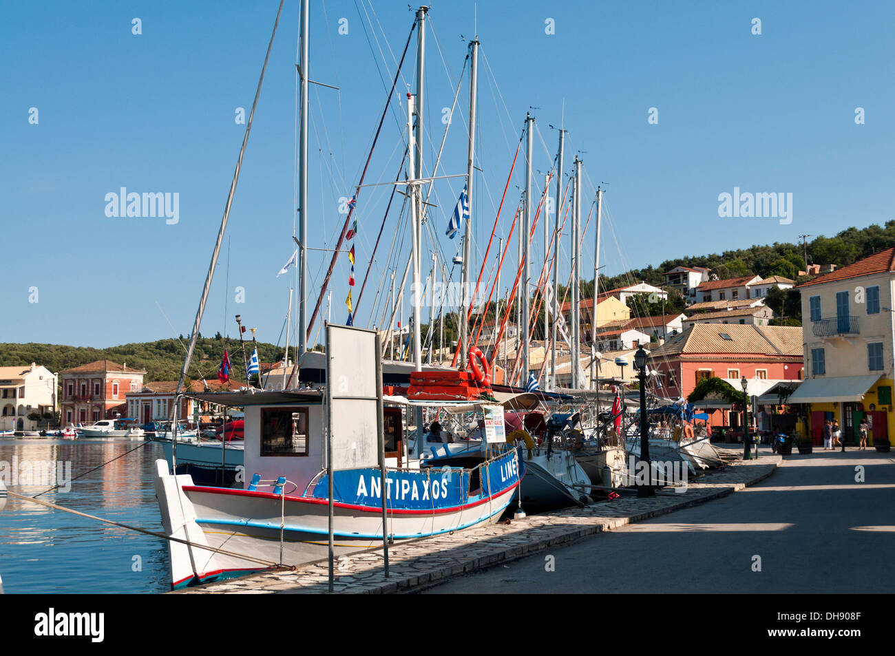The greek fishing village of Gaios on the island of Paxi - Stock Image