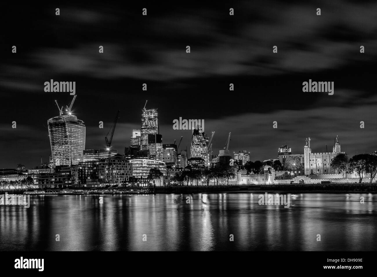 The City of London at Night - Stock Image