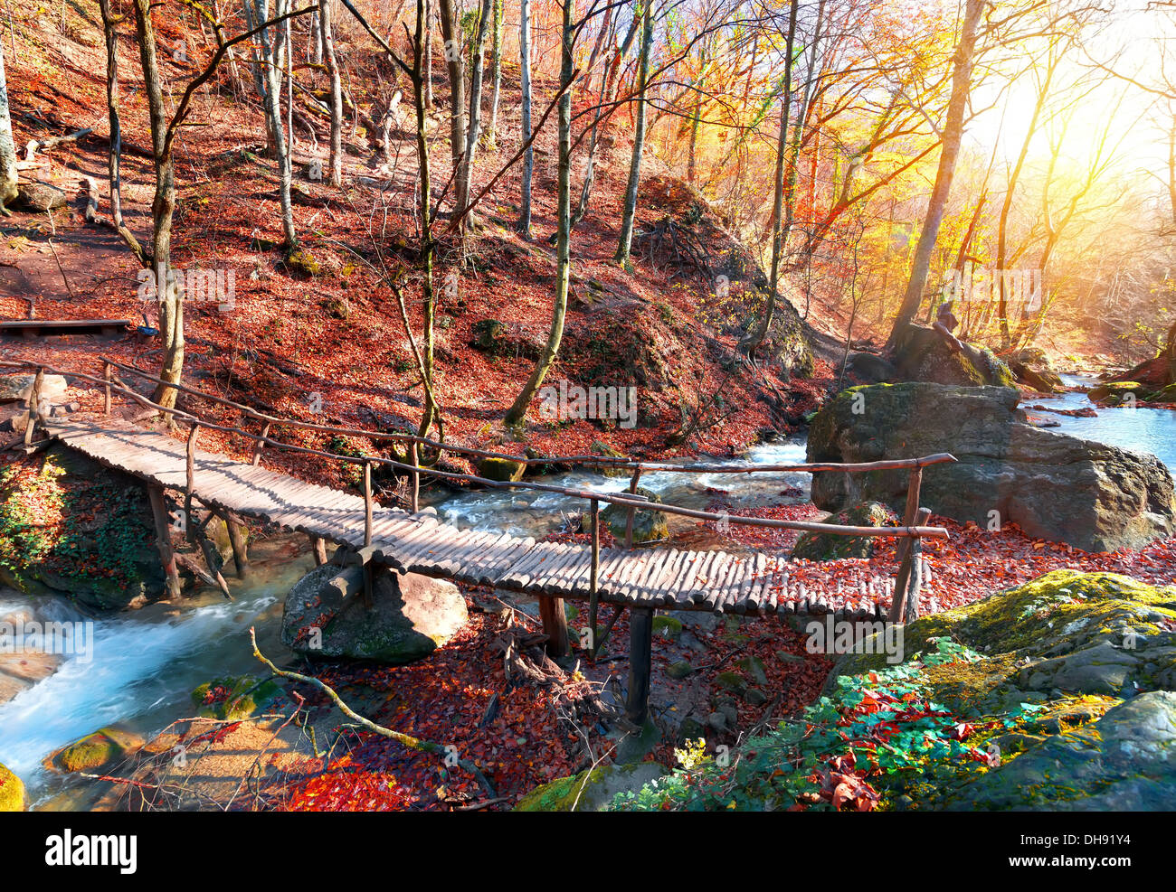 Wooden bridge in the mountain forest in autumn - Stock Image