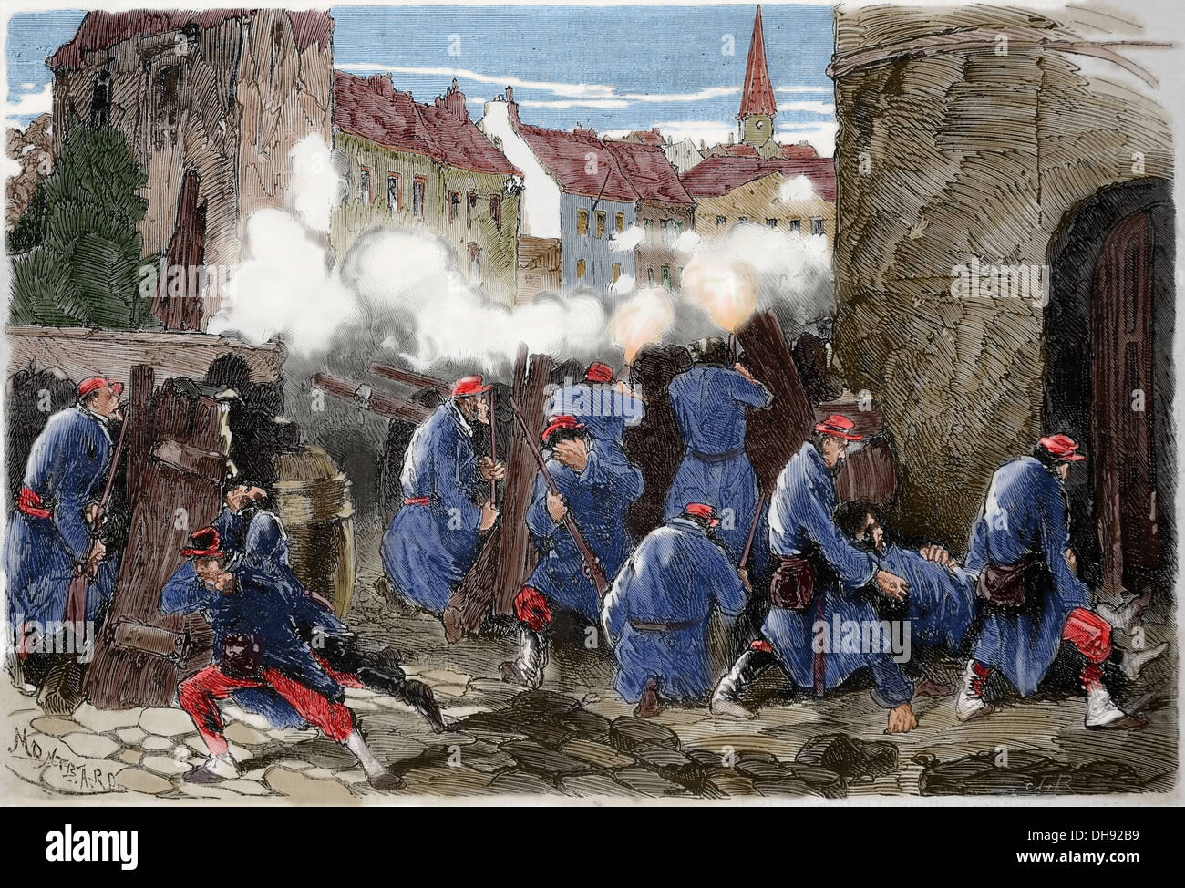 Franco-Prussian War. 1870-1871. Defense of Paris. 19th of January. 13 battalion of National Guard in barricade. - Stock Image