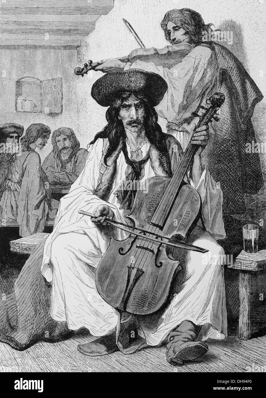 Europe. Gypsy musican in Hungary. 1800-1900. Engraving. 19th century. - Stock Image