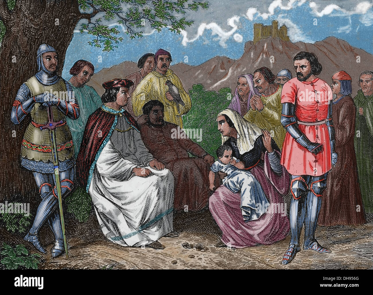 Louis IX (1214 – 1270). King of France (1226-1270). Saint Louis administering justice in the open field. Engraving. - Stock Image