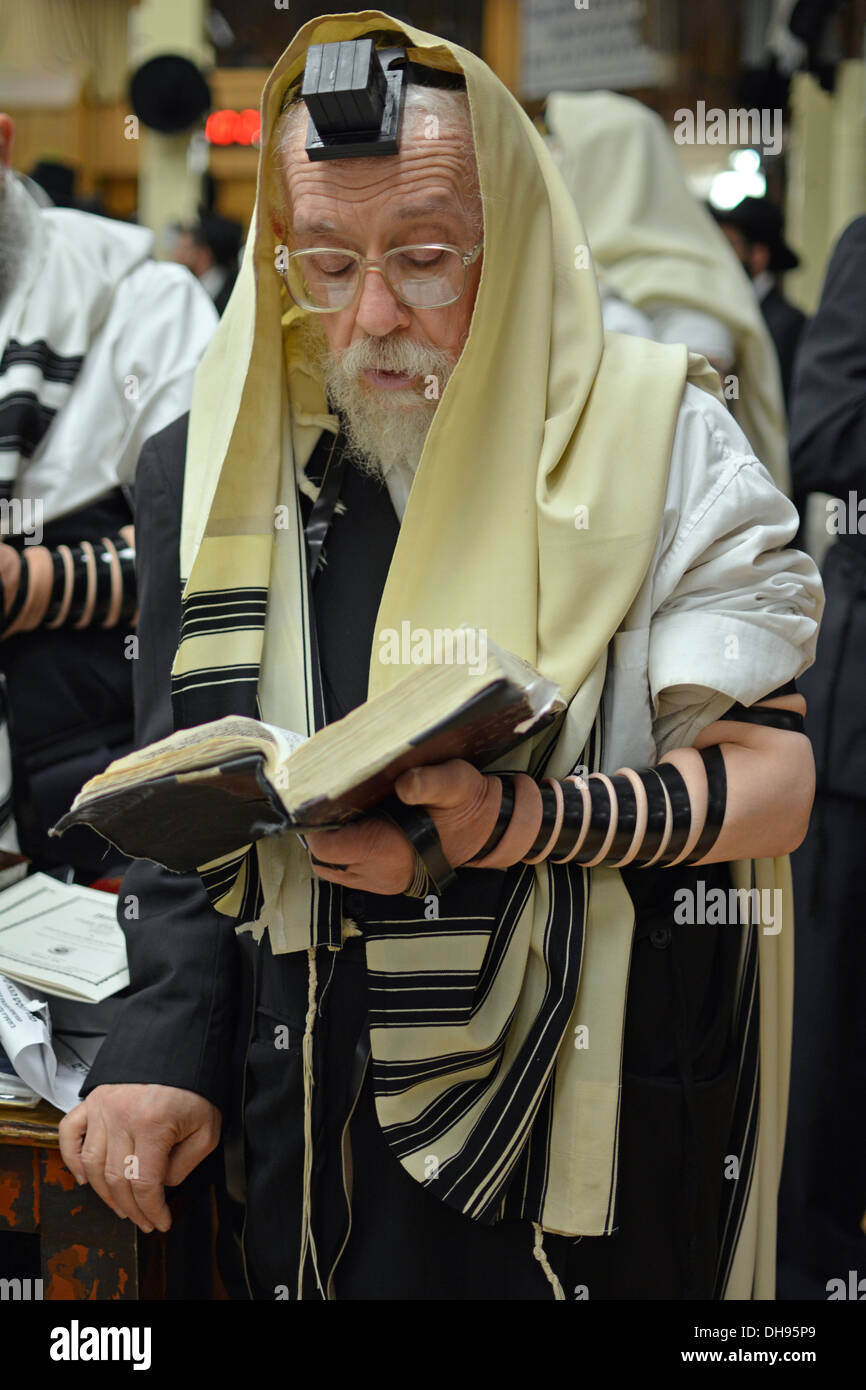 Religious Jewish man praying wearing Tefillin, phylacteries, and a prayer shawl at Lubavitch headquarters in Brooklyn, New York - Stock Image