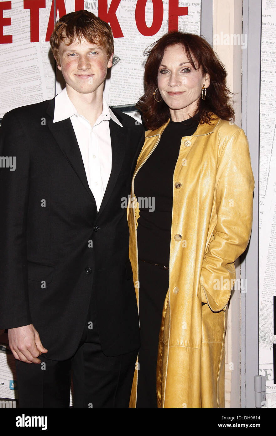 Marilu Henner with her son Joey Lieberman Broadway opening night of Disney Theatrical Productions musical 'Newsies' at - Stock Image
