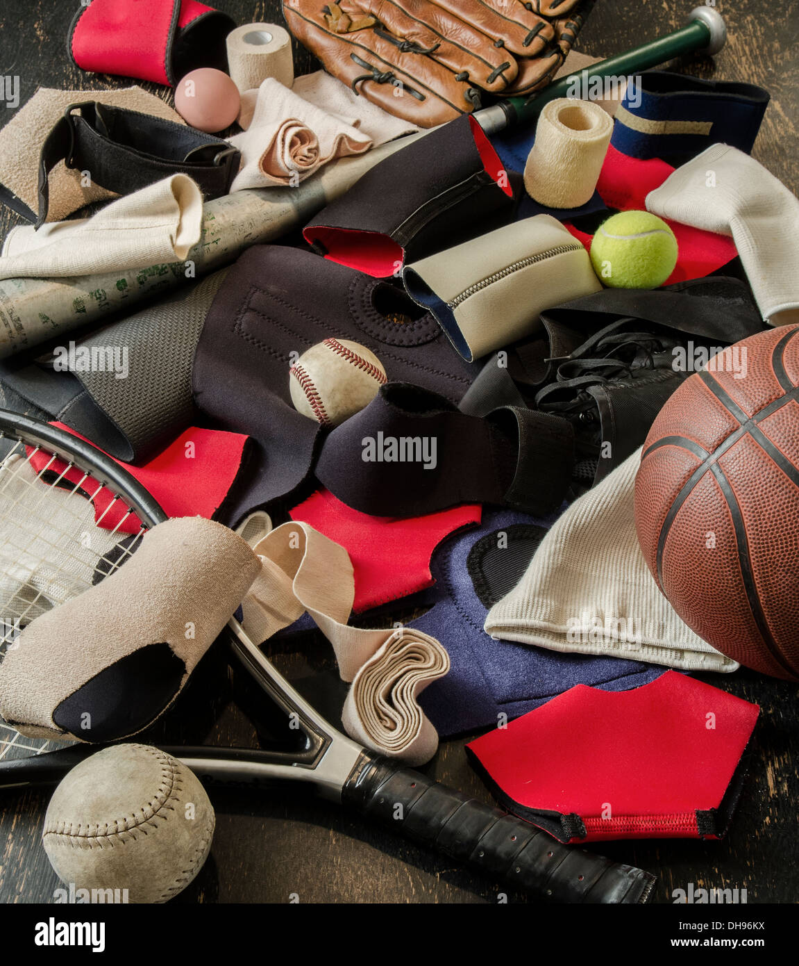various straps and bandages for sports injuries - Stock Image