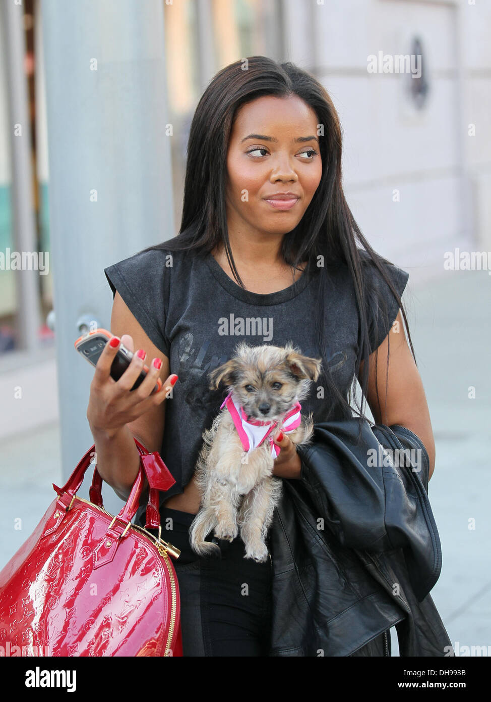 Angela Simmons Leaving Beverly Hills Nail Design With Her Dog In Her