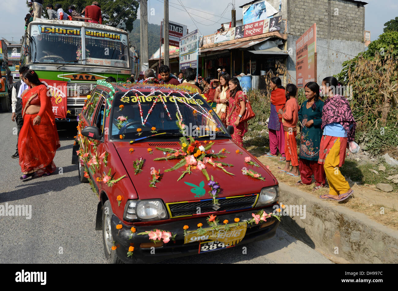 decorated car for wedding Pokhara valley Nepal - Stock Image