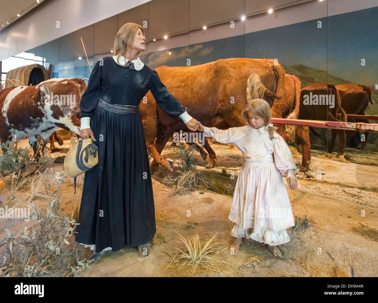Display in the National Historic Oregon Trail Interpretive Center, Baker, Oregon, USA - Stock Image
