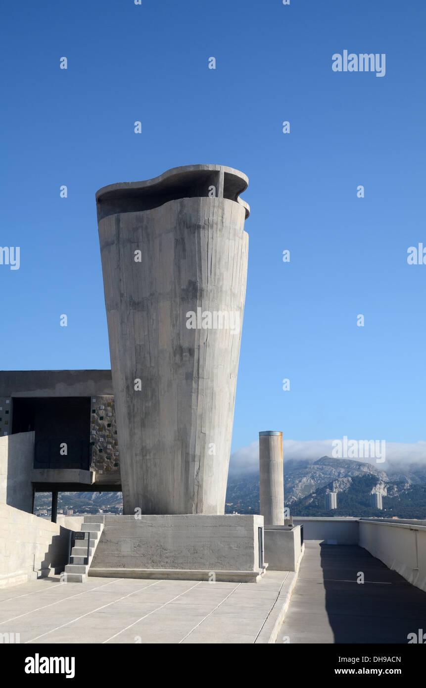 Concrete Ventilation Shaft of the Unité d'Habitation or Cité Radieuse designed by Le Corbusier Marseille - Stock Image