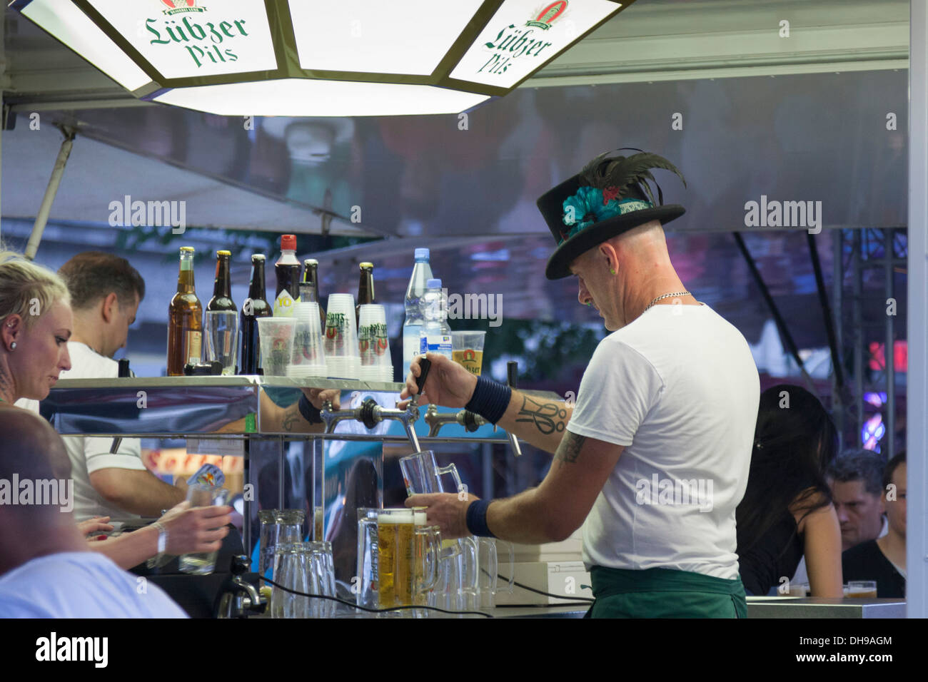 Barman pouring beer ,Berlin,Germany - Stock Image