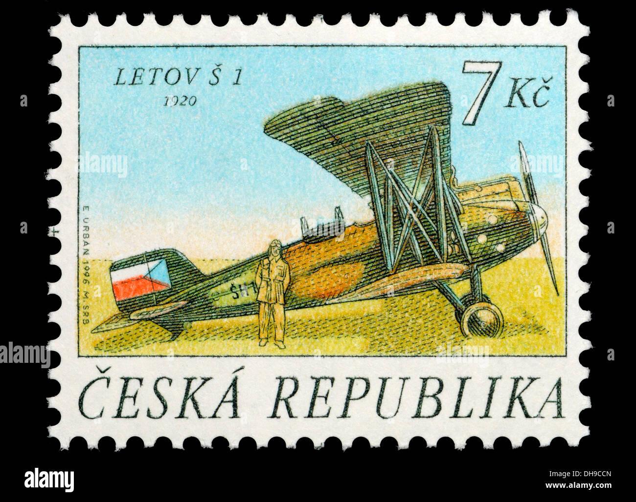 Czech Republic postage stamp: Letov S-1 (1920) Czechoslovak single-engined two-seat biplane surveillance aircraft - Stock Image