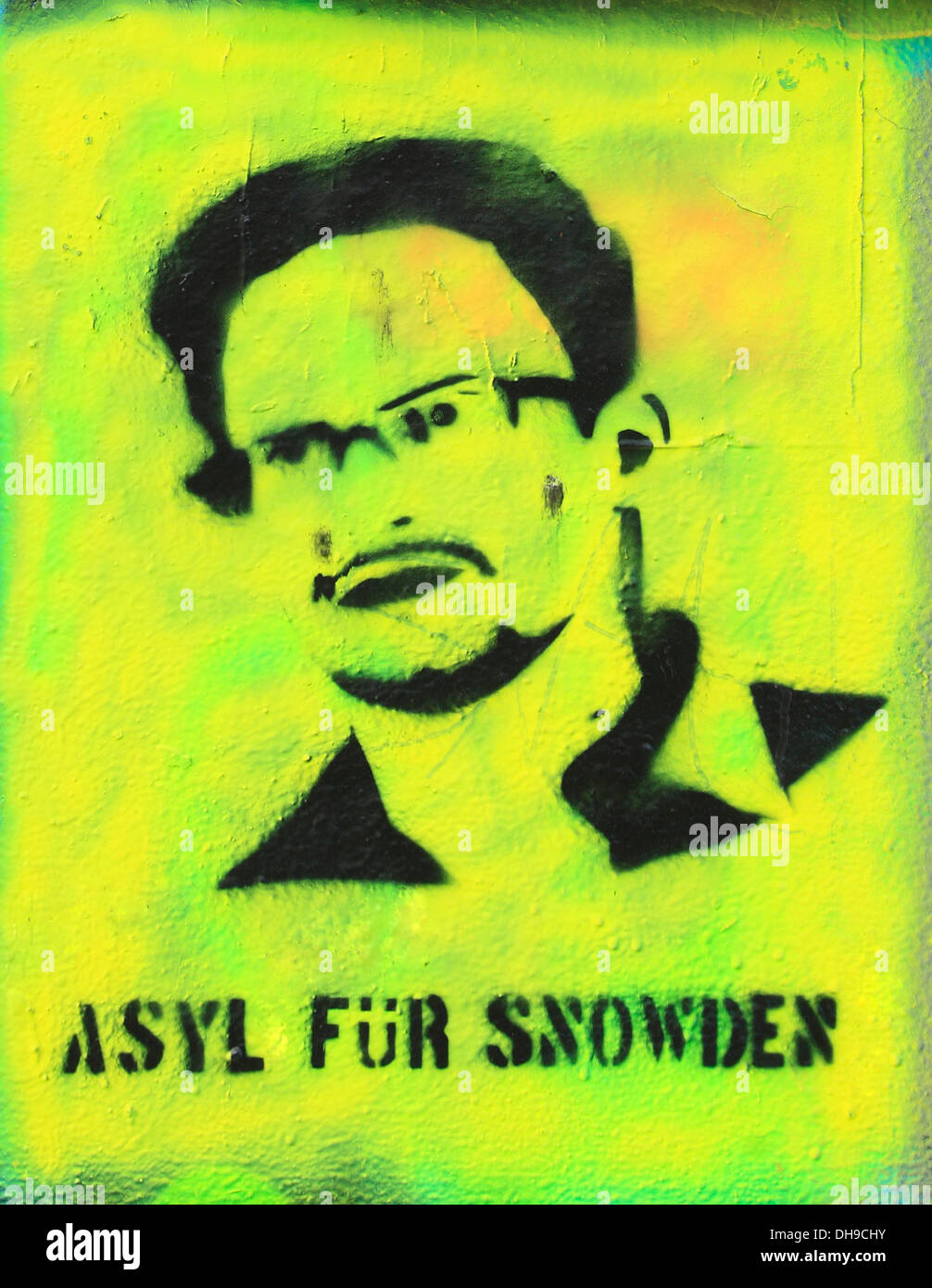 Asyl fuer Snowden, Graffiti at East-Side-Gallery, Berlin, Germany - Stock Image