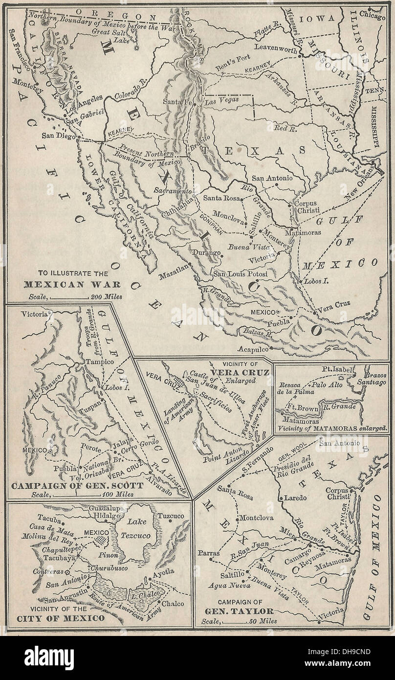 Maps of campaigns of USA-Mexican War 1846-1848 - Stock Image
