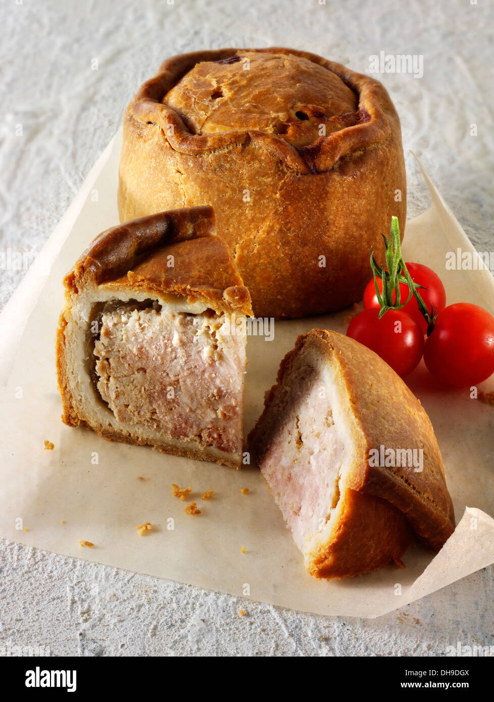 Traditional British pork pastry pie ready to eat - Stock Image