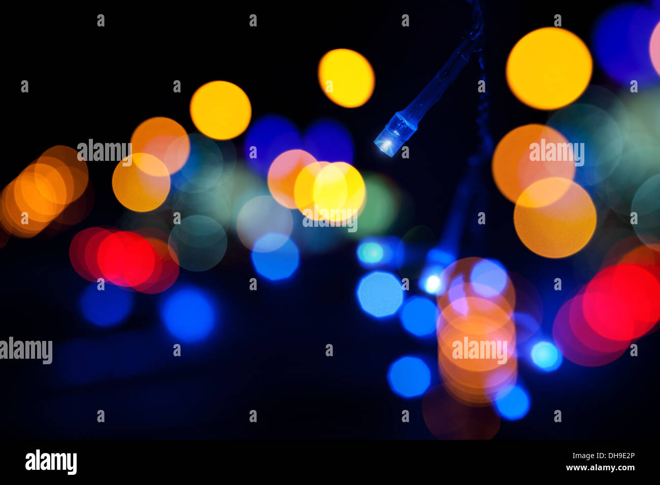 Colorful LED (light emitting diodes) lights garland with bokeh