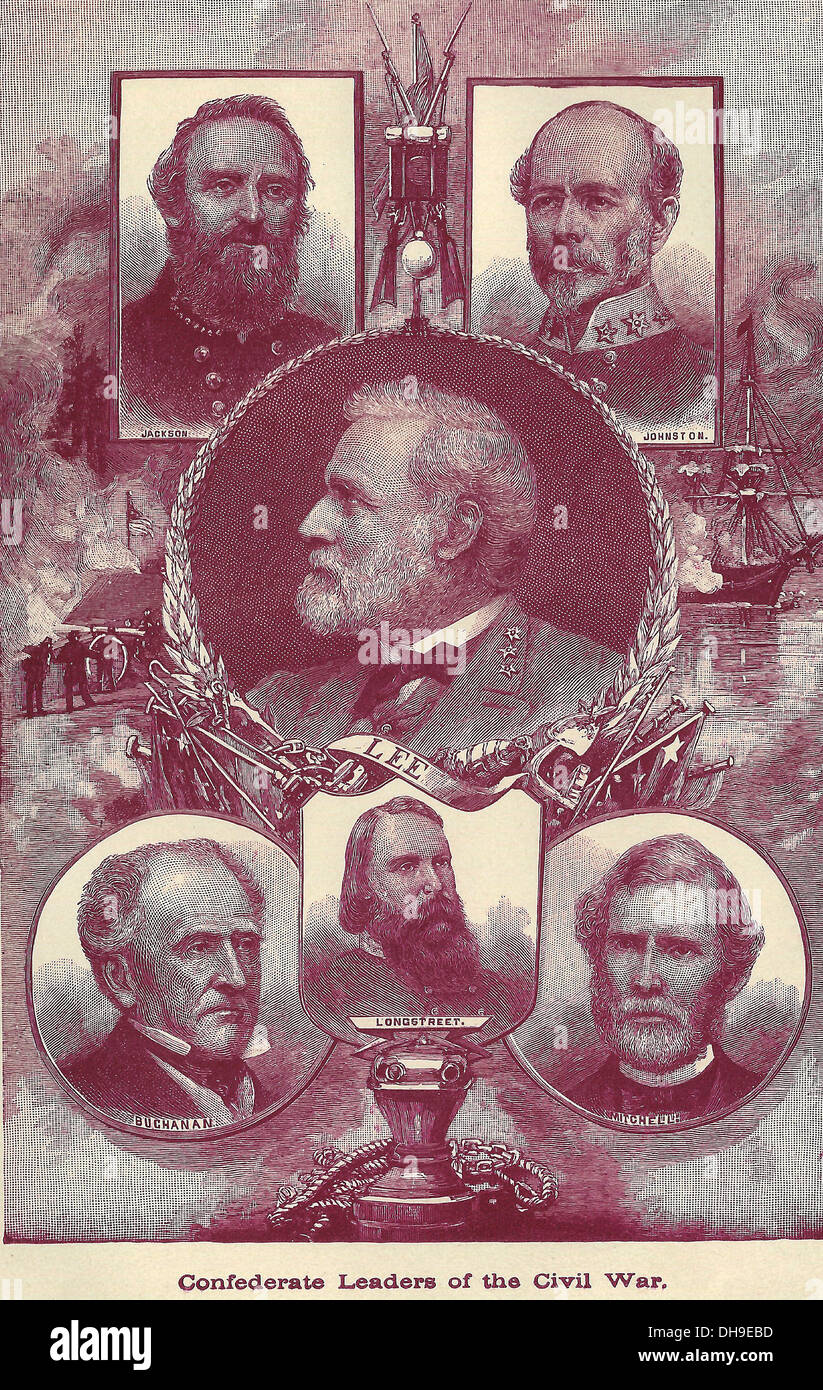 Confederate Leaders of the USA Civil War - Stock Image