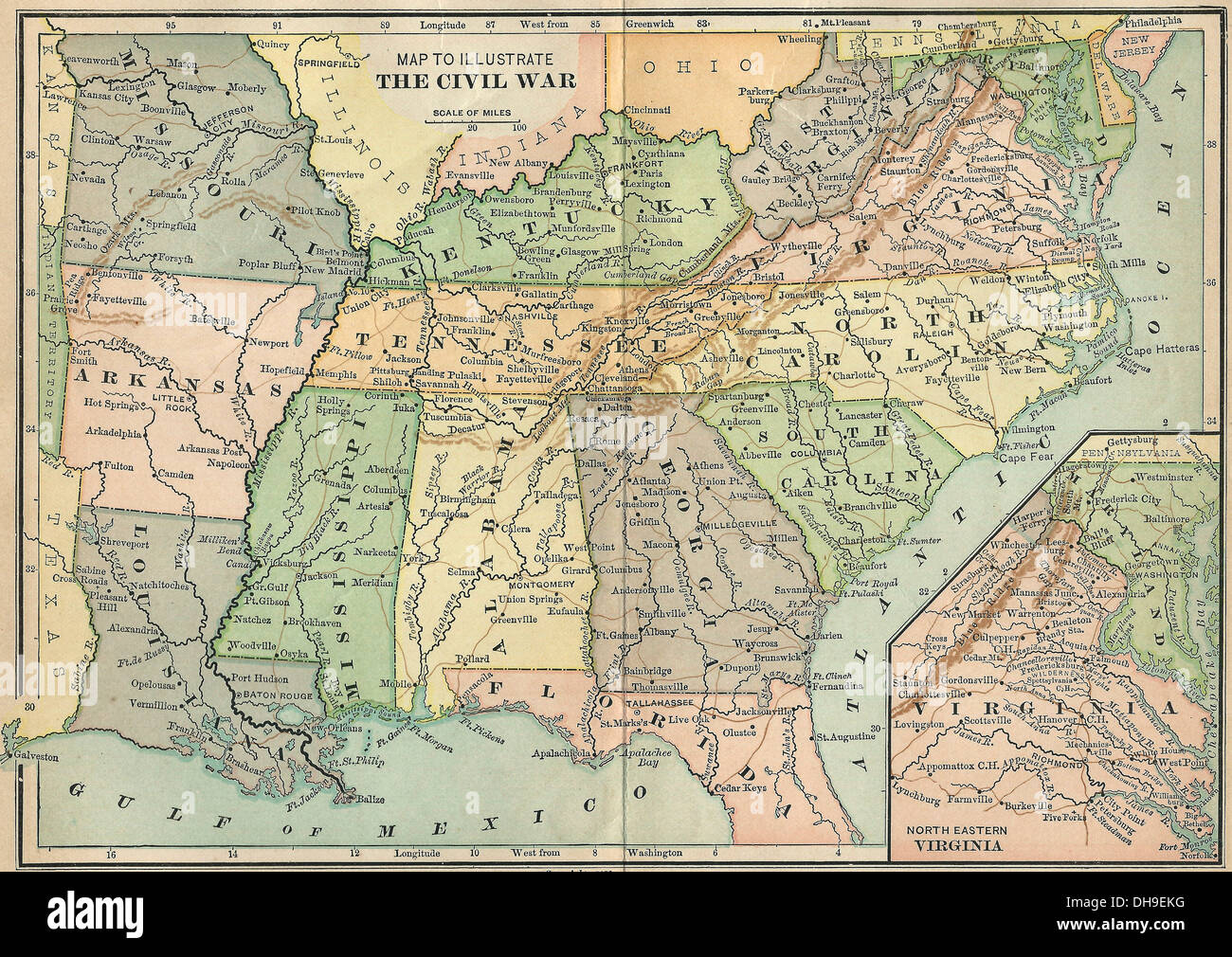 Map to illustrate the USA Civil War 1861-1865 Stock Photo: 62289348 ...