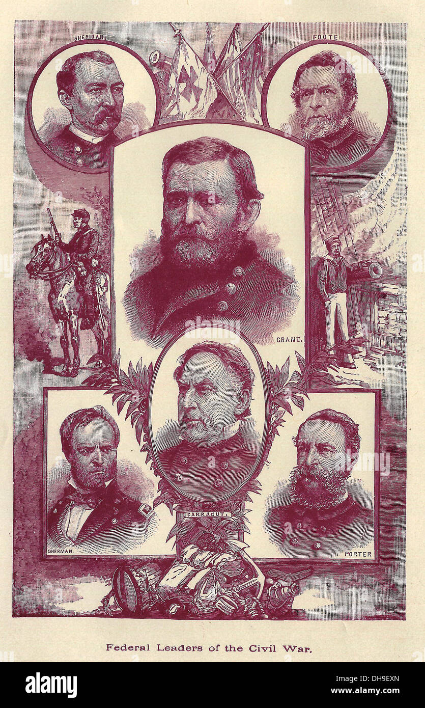 Federal Leaders of the USA Civil War - 1861-1865 - Stock Image