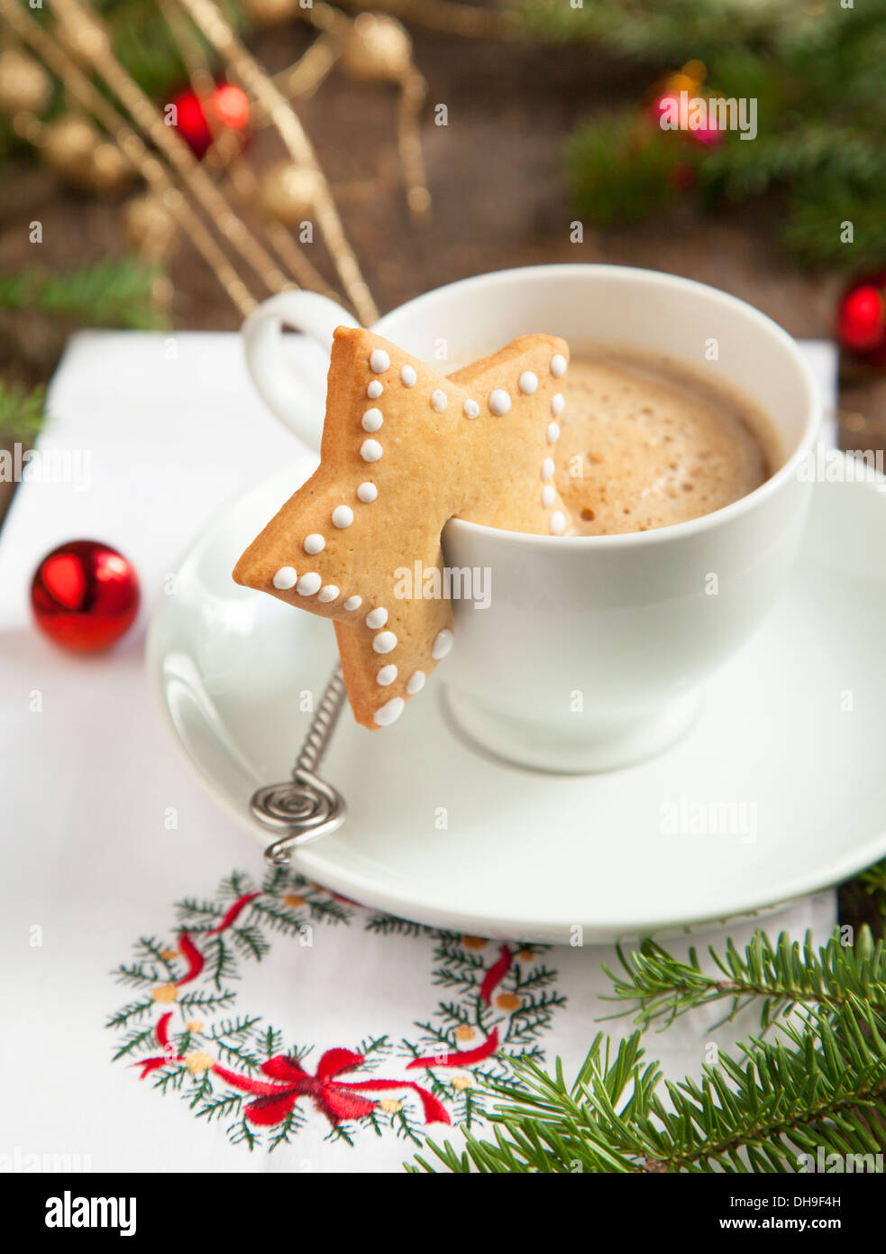 Cup Of Coffee And Christmas Sugar Cookies Stock Photo Alamy