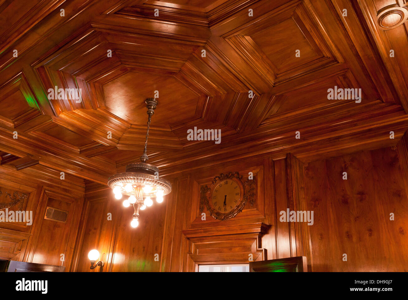 Wood Panel Ceiling Stock Photo Alamy