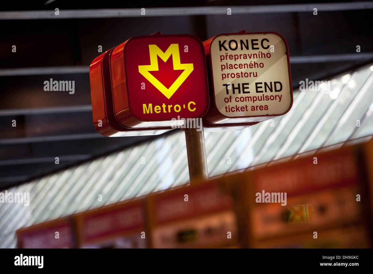 Metro station  Hlavní nádraží  people Prague Czech Republic, Europe - Stock Image