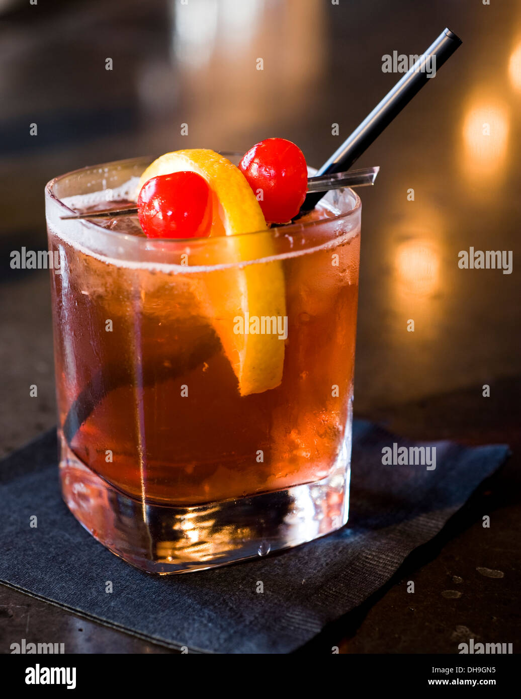brandy old fashioned cocktail served at a bar in Milwaukee Wi. - Stock Image